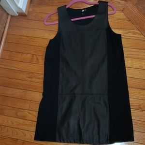 H and M leather paneled shift dress